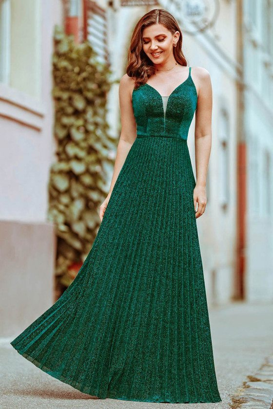 Glitter Green Pleated Vneck Evening Dress With Straps - EP00594DG