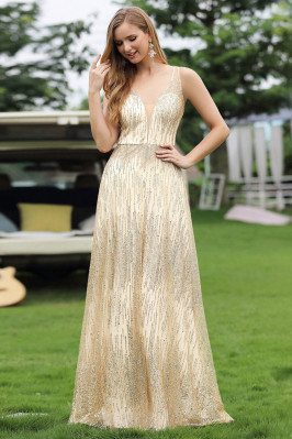 Gold Sequin Deep Vneck...