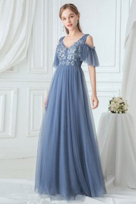 Dusty Navy Empire Tulle Bridesmaid Dress With Appliques Cold Shoulder - EP00745DN