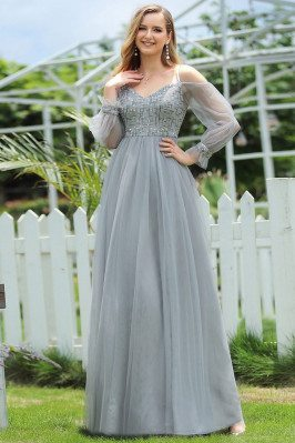 Grey Sequins Aline Long Formal Dress With Sheer Sleeves For Teens - EP00577GY