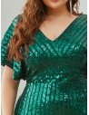 Plus Size Green Sequins Mermaid Evening Dress Classy With Puffy Sleeves - EP00413DG16