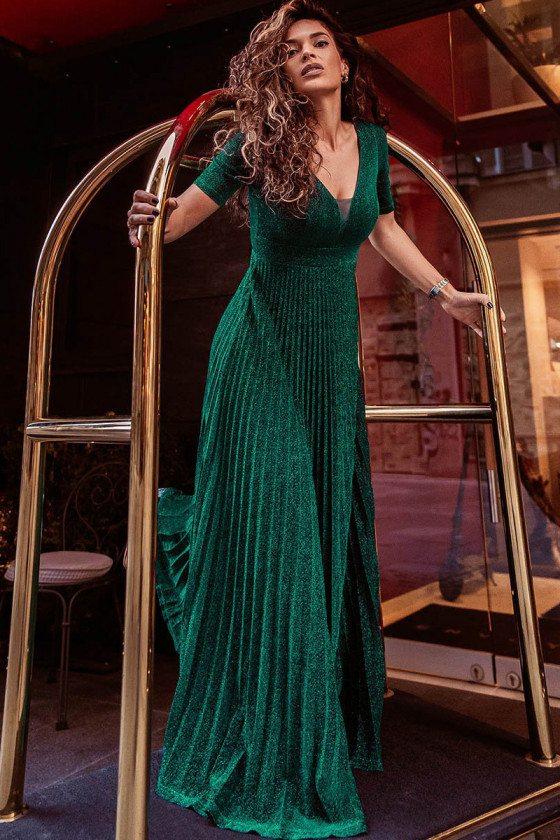 Dark Green Vneck Modest Pleated Evening Dress With Short Sleeves - EP00591DG
