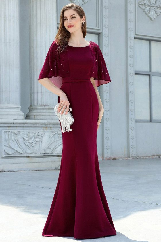 Classy Burgundy Mermaid Evening Dress With Puffy Sleeves - EP00575BD