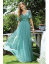 Dusty Blue Vneck Long Prom Dress With Sequins Sleeves - EP00566DB