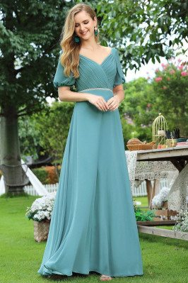 Dusty Blue Pleated Vneck Long Bridesmaid Dress With Lantern Sleeves - EP00535DB