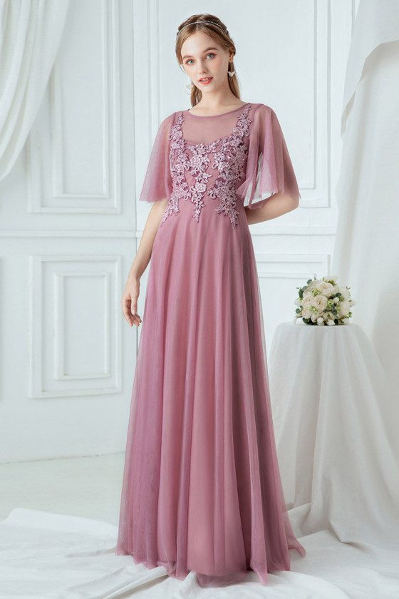 Purple Elegant Long Bridesmaid Dress With Illusion Neckline