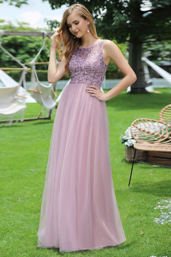 Mauve Aline Tulle Prom Party Dress With Sequins
