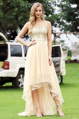 Gorgeous Gold High Low Prom Party Dress With Bling Sequins - EP00412GD