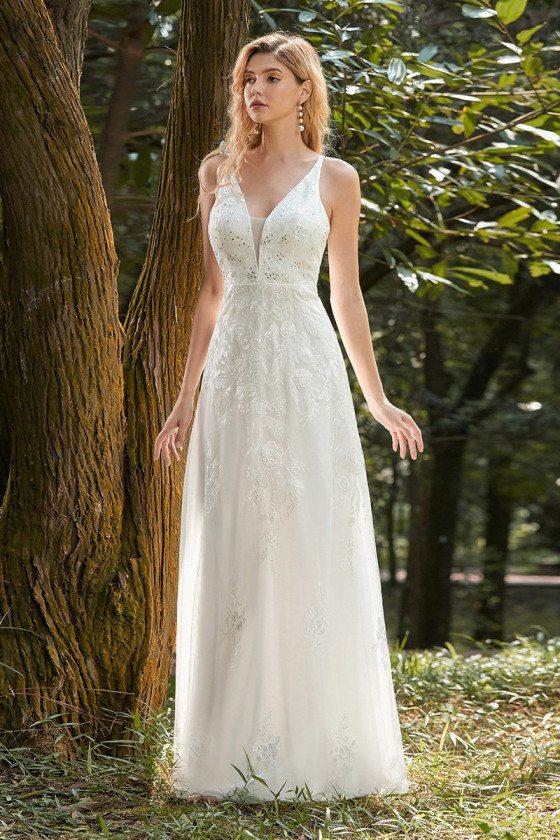 Cream White Sequined Lace Simple Wedding Dress Vneck Sleeveless