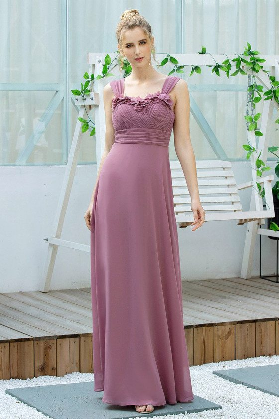 Purple Elegant Ruched Long Bridesmaid Dress With Straps - EP00625OD