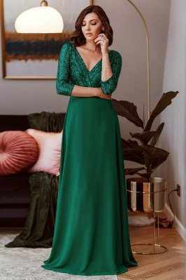 Elegant Green Evening Dress...