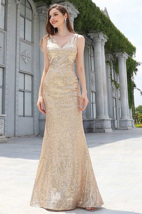 Rose Gold Floor Length Mermaid Evening Dress Vneck For Formal - EP00561RG