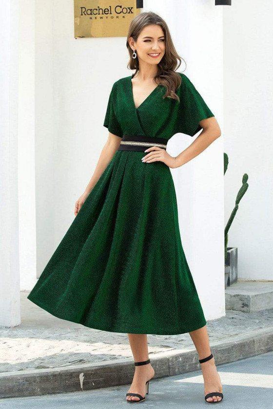 Green Vneck Elegant Tea Length Party Dress With Ruffle Sleeves - EP00729DG