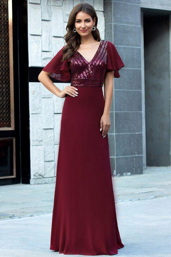 Burgundy Vneck Sequins Elegant Evening Prom Dress With Sleeves