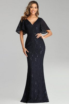 Navy Blue Lace Mermaid Evening Dress Vneck With Sleeves - EP00688NB