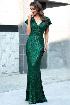 Green Sequins Slim Long...