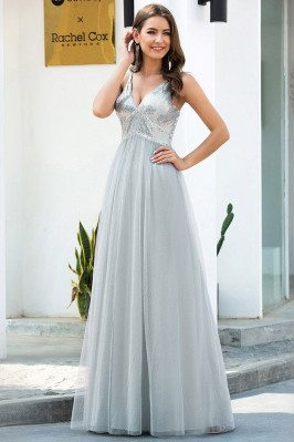 Grey Sequins Vneck Long Tulle Prom Dress - EP00628GY