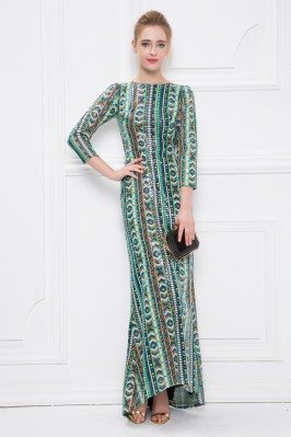 High-end Embroidery Open Back Long Party Dress