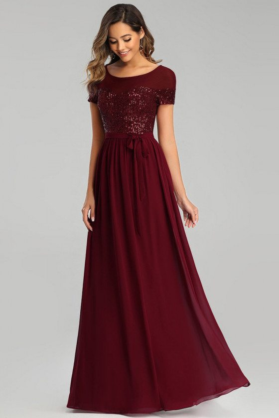 Burgundy Chiffon Long Evening Dress With Sequins Modest Sleeves - EP00655BD