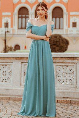 Elegant Dusty Blue Long Bridesmaid Dress With Spaghetti Straps - EP00599DB