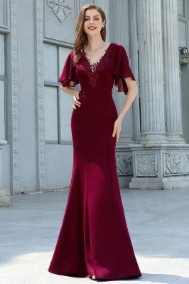 Burgundy Vneck Lace Mermaid Evening Dress With Sleeves - EP00574BD