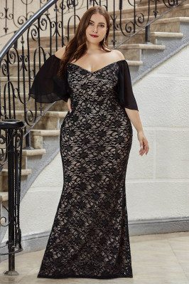 Gorgeous Plus Size Mermaid Black Lace Evening Dress With Off Shoulder Sleeves - EP00532BK16