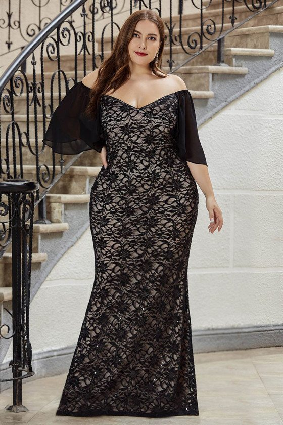 Gorgeous Plus Size Mermaid Black Lace Evening Dress With Off Shoulder Sleeves