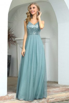 Dusty Blue Aline Long Wedding Party Dress With Bling Sequins - EP00508DB