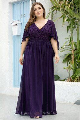 Dark Purple Vneck Plus Size...