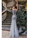 Grey Fishtail Sparkly Sequins Evening Prom Dress With Double Vneck - EP00654GY