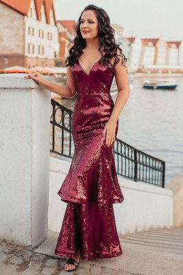 Burgundy Fitted Mermaid Sequined Evening Dress With Vneck - EP00516BD