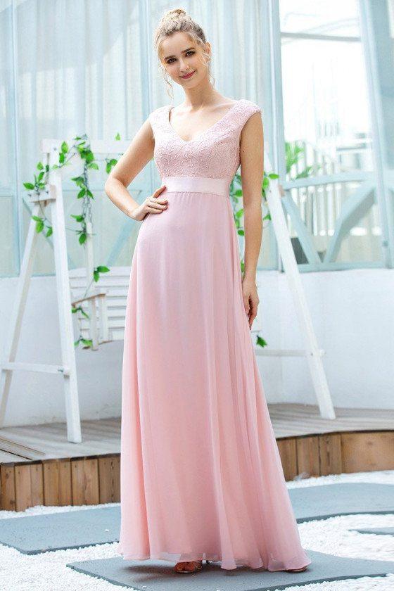 Pink Aline Chiffon Long Bridesmaid Dress With Sash