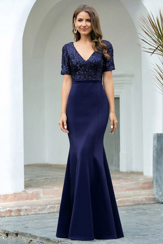 Navy Blue Vneck Mermaid Evening Dress With Sequined Short Sleeves - EP00682NB