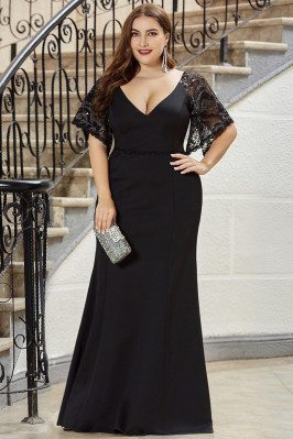 Formal Long Black Plus Size Evening Dress Mermaid With Lace Sleeves - EP00550BK16