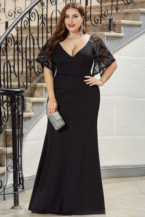 Formal Long Black Plus Size Evening Dress Mermaid With Lace Sleeves