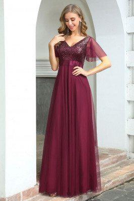 Fashion Aline Long Burgundy...