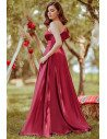 Burgundy Aline One Ruffle Sleeve Simple Prom Dress - EP00649BD