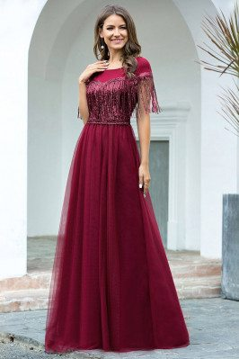 Elegant Burgundy Aline...