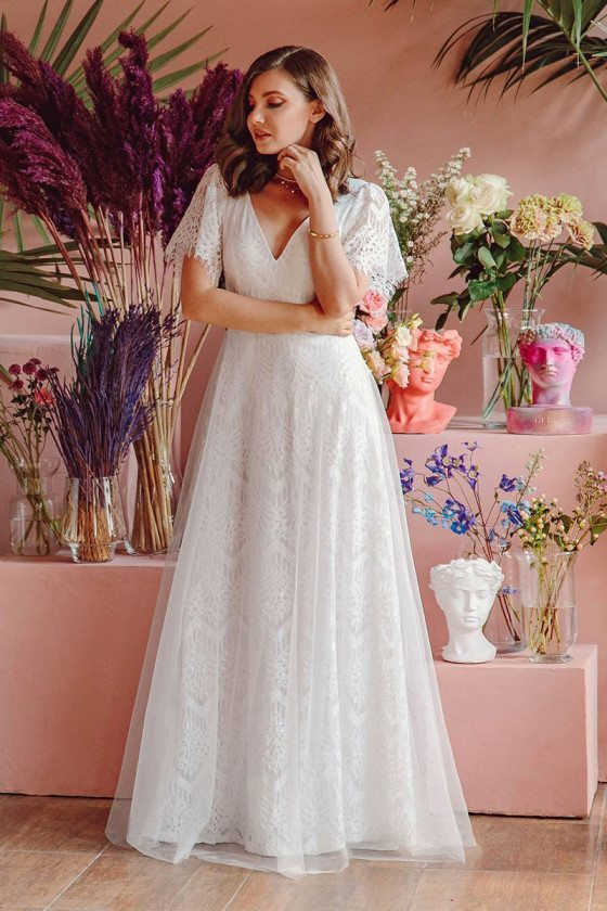 White Lace Casual Bohemian Wedding Dress Vneck With Sleeves - EP00547WH