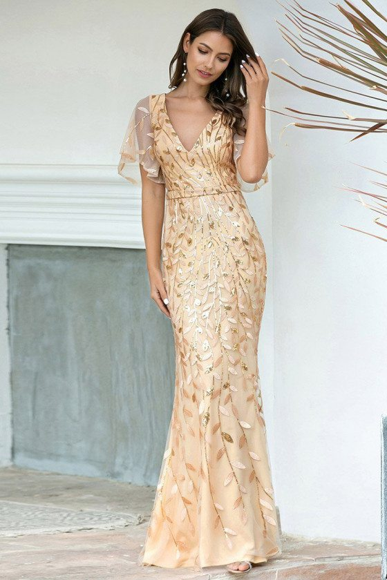 Gorgeous Vneck Leaf Sequined Gold Formal Dress With Puffy Sleeves - EP00692GD