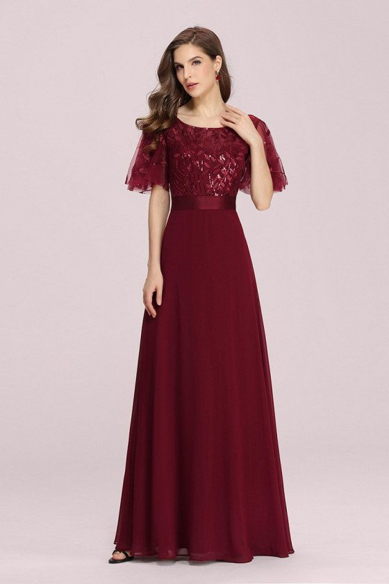 Burgundy Aline Chiffon Long Party Dress With Tulle Sleeves