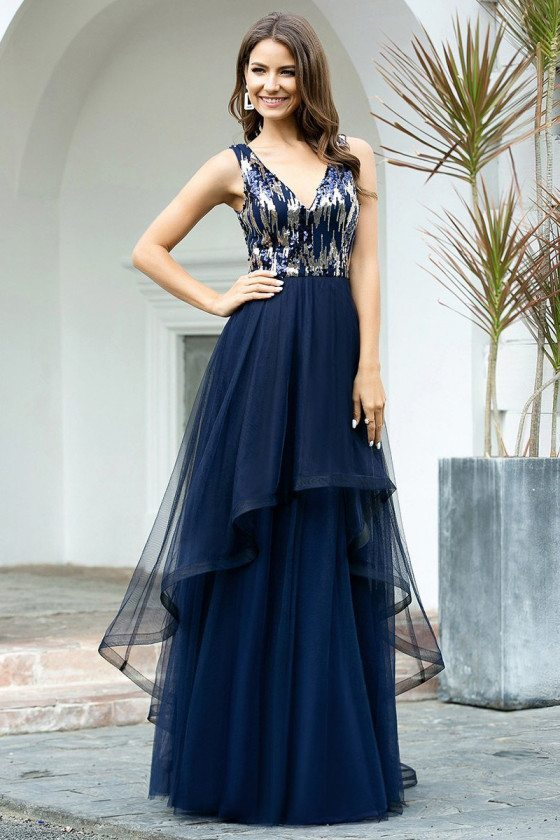 Navy Blue Tiered Tulle Vneck Prom Dress With Bling Sequins