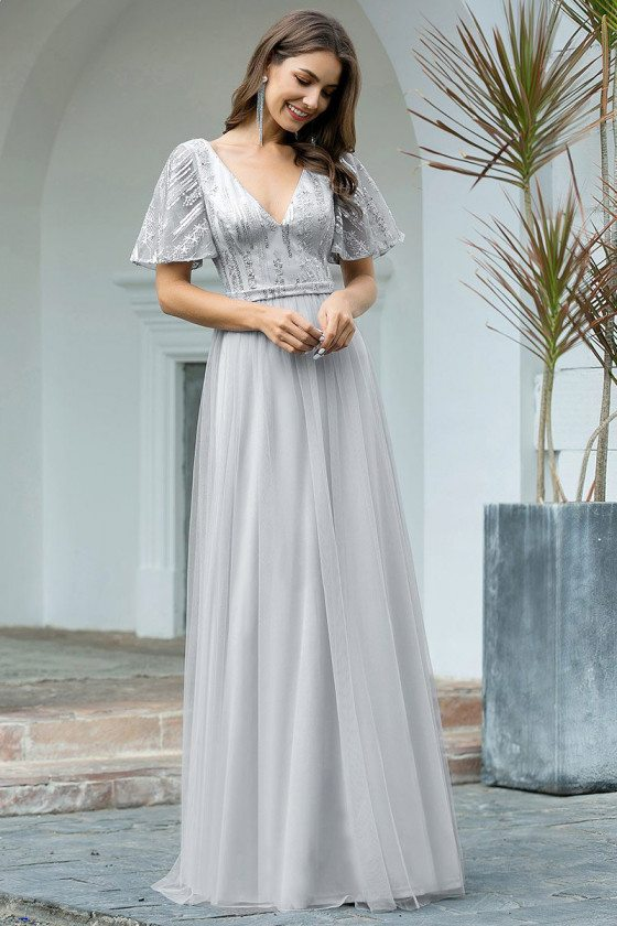 Grey Tulle Vneck Elegant Formal Dress With Puffy Sleeves - EP00502GY