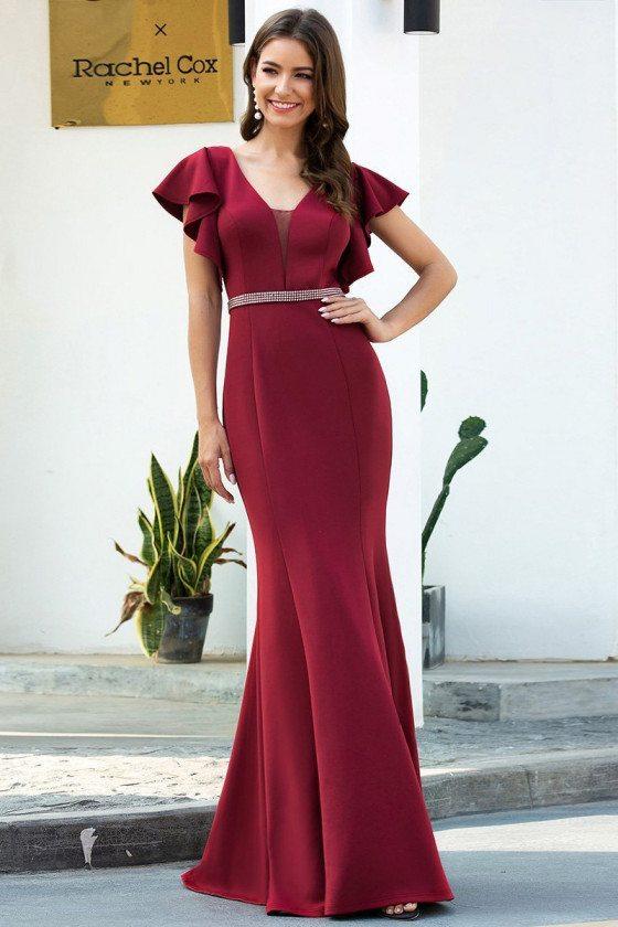 Elegant Burgundy Mermaid Evening Dress With Flutter Sleeves - EP00669BD