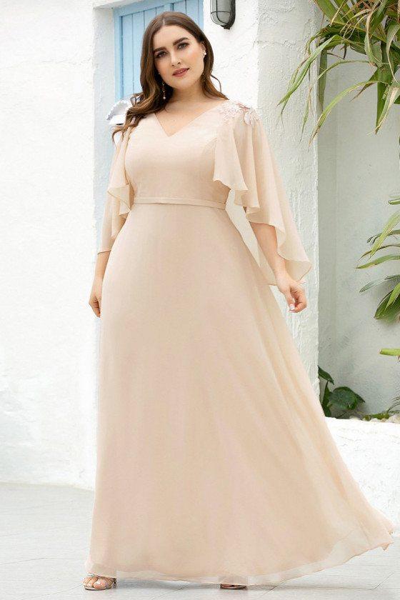 Blush Plus Size Floor Length Bridesmaid Dress With Wraps - EP00638BH16