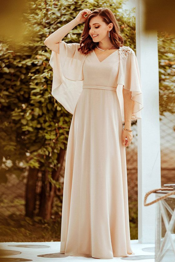 Elegant Blush Plus Size Chiffon Bridesmaid Dress With Wraps
