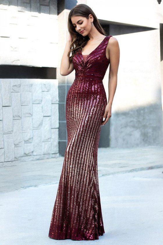 Burgundy Mermaid Sequins Sparkly Prom Dress Sleeveless - EP00616BD