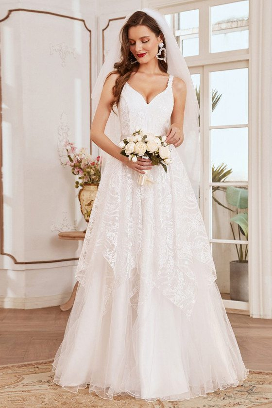 Romantic Cream White Lace & Tulle Sleeveless Country Wedding Dress - EH00152CR
