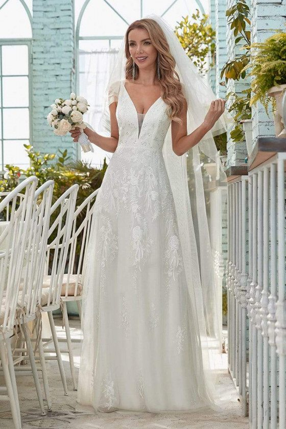 Simple Vneck Sequined Wedding Dress with Floral Embroidery