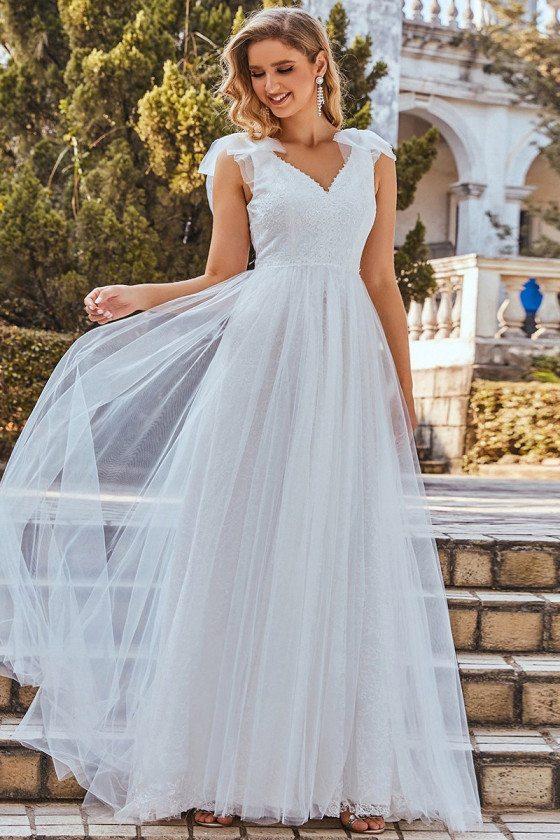 Gorgeous Double Vneck Lace Bodice Wedding Dress Sleeveless